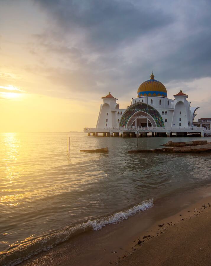 floating mosque at sun rise